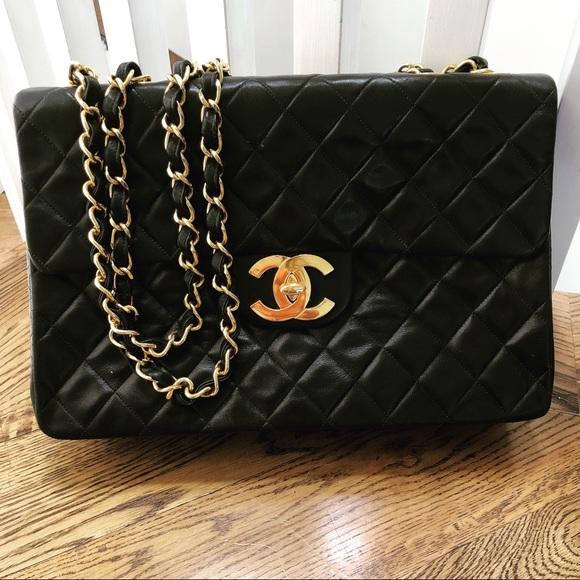 CHANEL Bags   Flap Quilted Lambskin Jumbo Handbag   Poshmark ea0efb4943